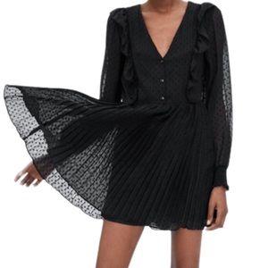 Zara Black Swiss Dot Jumpsuit Pleated Dress